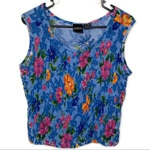 Vintage Erika floral ruched cropped top sleeveless